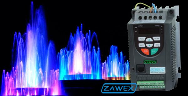 Falownik SANYU SY8000 i fontanny multimedialne